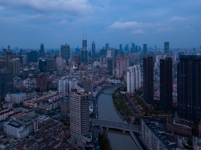 Aerial view of skyscraper and high-rise office buildings in Shanghai Downtown, China. Financial district and business centers in royalty free stock image