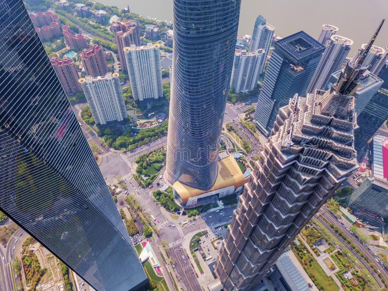 Aerial view of skyscraper and high-rise office buildings in Shanghai Downtown, China. Financial district and business centers in. Smart city in Asia royalty free stock images
