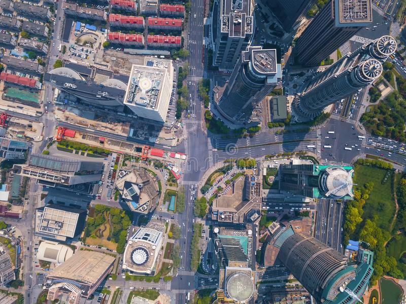 Aerial view of skyscraper and high-rise office buildings in Shanghai Downtown, China. Financial district and business centers in. Smart city in Asia stock image