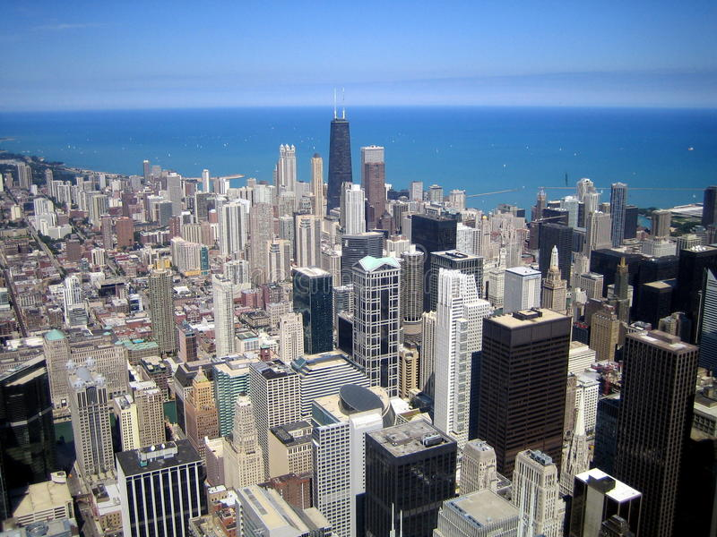 Download Aerial View Of Skyscrapers In City Of Chicago, IL Stock Photo - Image of commercial, canyon: 28496552