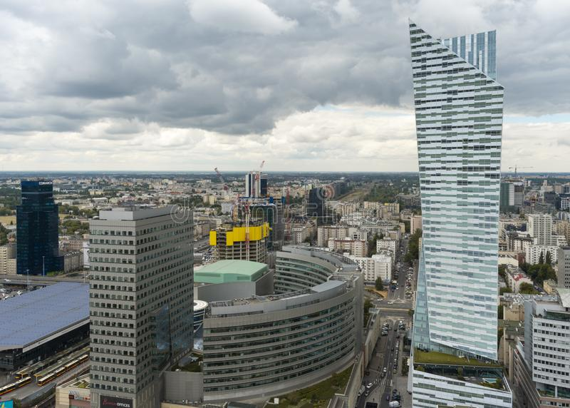 Aerial view of skyscrapers in Warsaw downtown. View of cityscape from the terrace on 30th floor of PKiN stock photos
