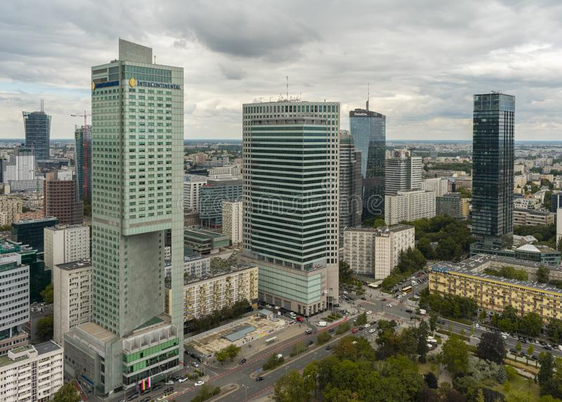 Aerial view of skyscrapers in Warsaw downtown. View of cityscape from the terrace on 30th floor of PKiN royalty free stock photo