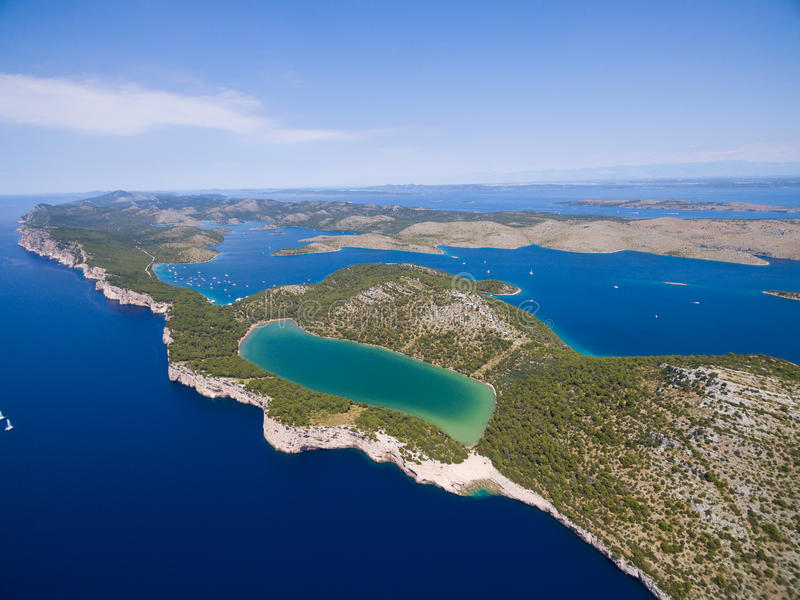 aerial view of the Slano lake in nature park Telascica, Croatia, stock images