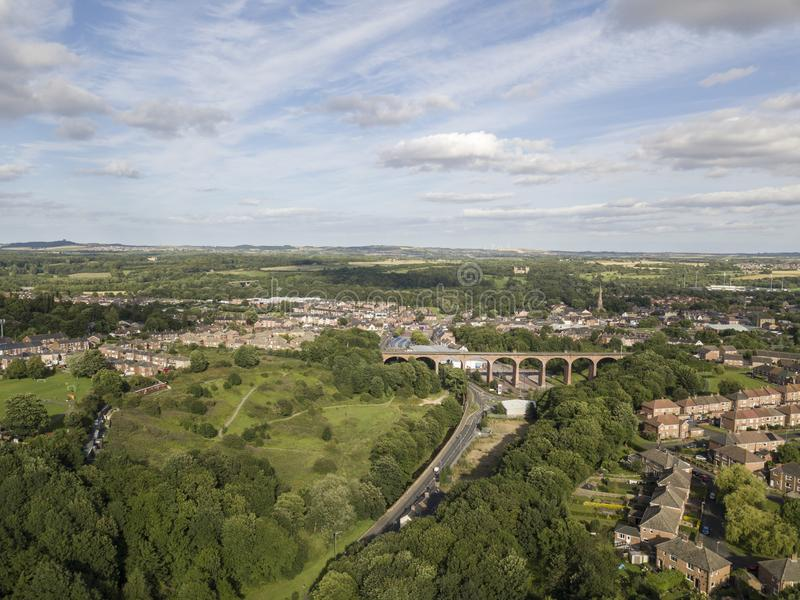 Aerial view of a small English town. Aerial view of a Chester-Le-Street in County Durham, UK. Small English town with viaduct. Elevated drone photography royalty free stock images