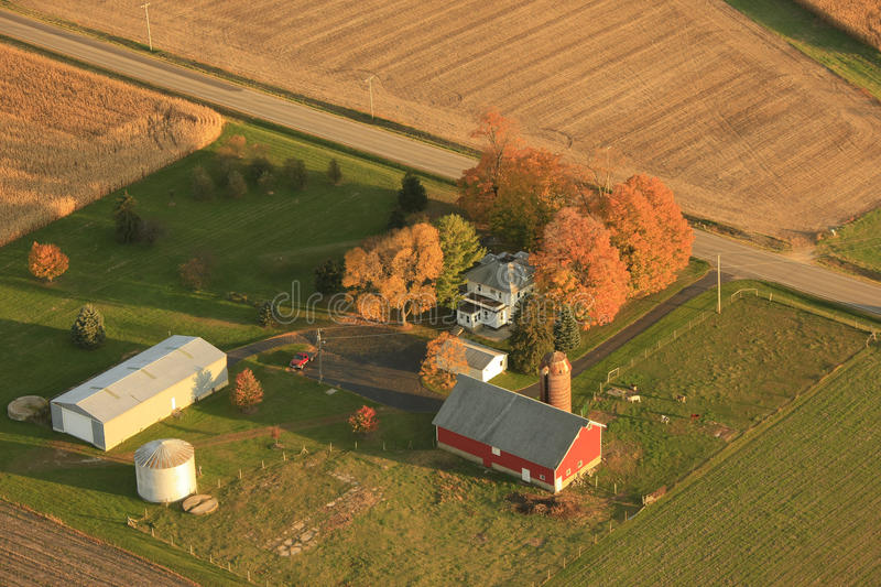 Aerial view of small farm stock photography