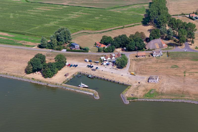 Aerial view small harbor Laaksum in Dutch province Friesland royalty free stock photos