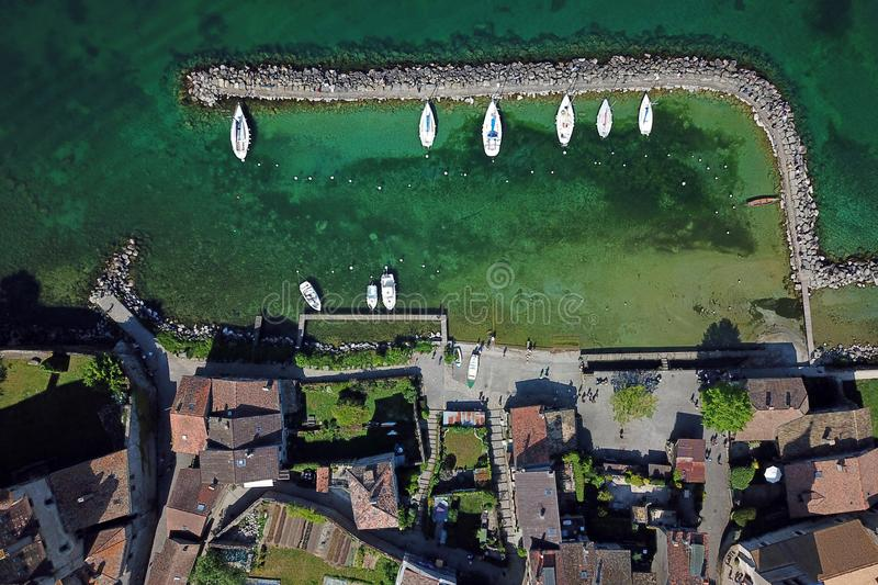 Aerial of small harbor royalty free stock images