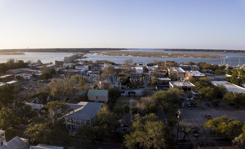 Aerial view of small town of Beaufort, South Carolina on the Atlantic coast. royalty free stock photos