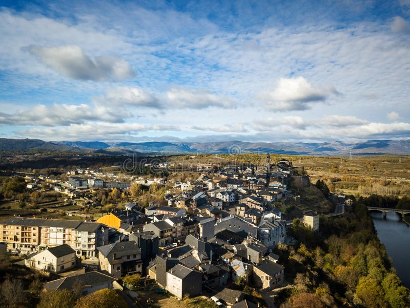 Aerial view of Puebla de Sanabria in Spain. Aerial view of the small town of Puebla de Sanabria in Northwest Spain, one of the oldest settlements in the province royalty free stock image