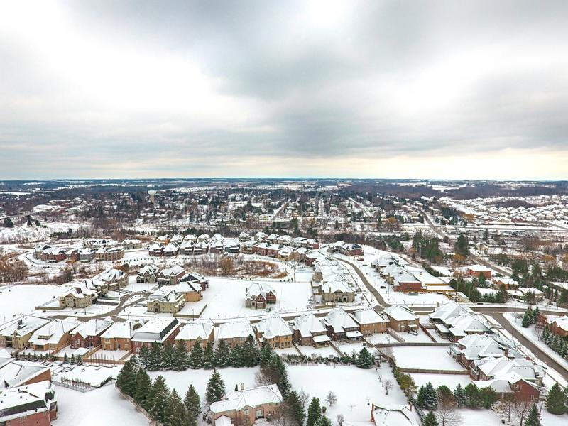 Aerial view of a small town in winter, Ontario, Canada royalty free stock images