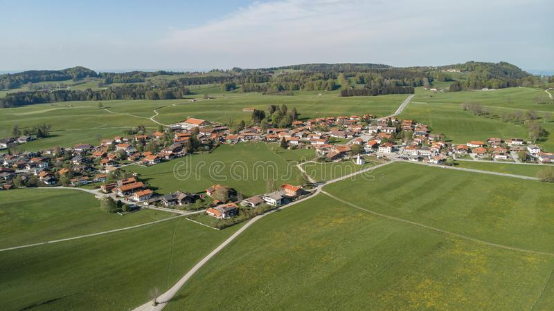 Aerial view of Bavarian Village, Germany stock photography
