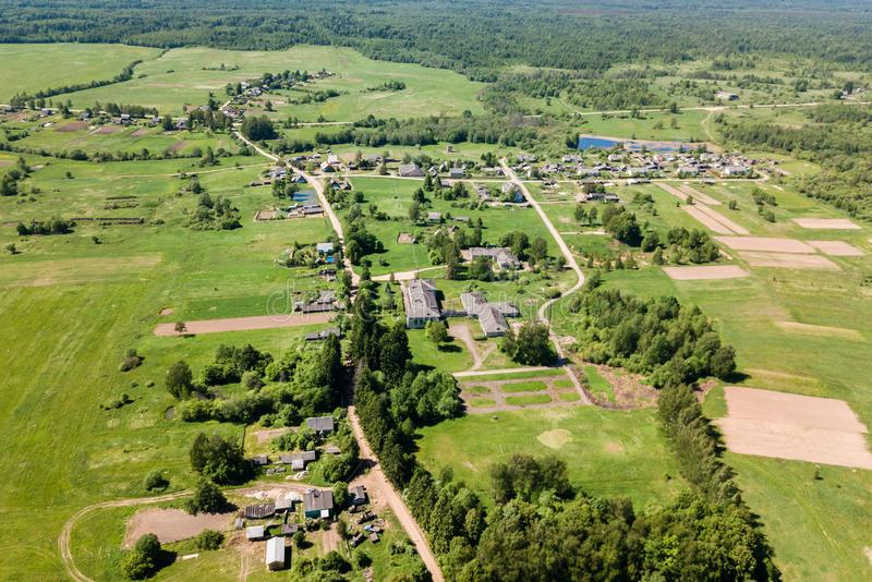 Aerial view of a small village in summer day. Concept of leave t royalty free stock photos