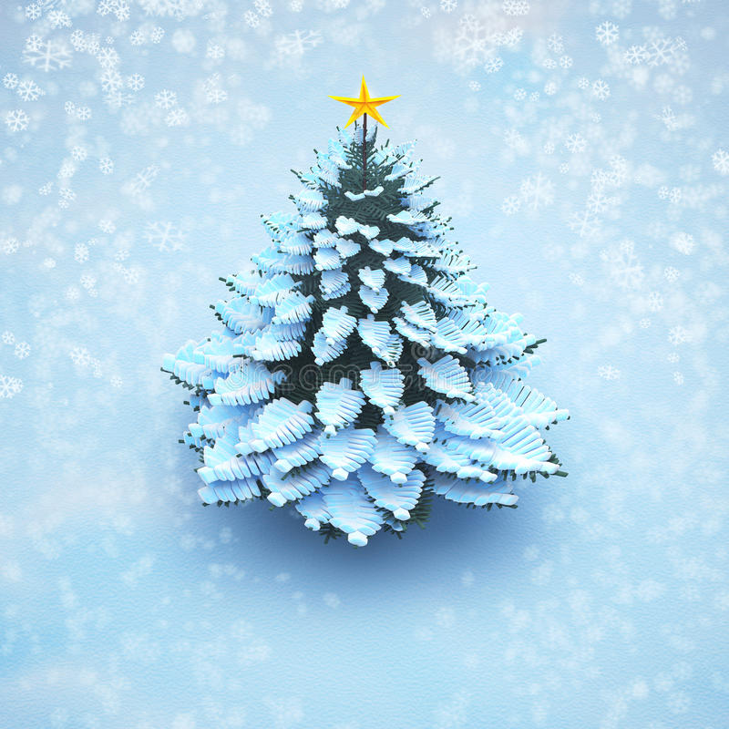 Aerial view snow christmas tree pine isolated. vector illustration