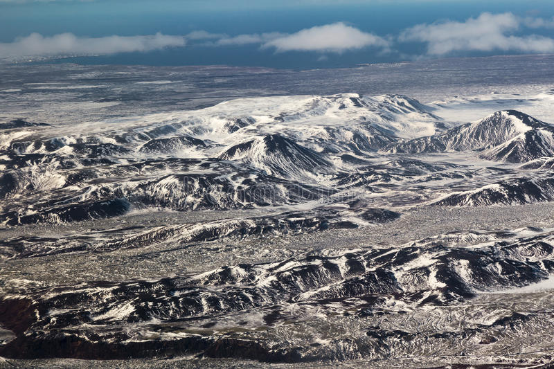 Aerial view snow covered mountains, Iceland natural landscape. Iceland natural landscape, aerial view skyline stock photography