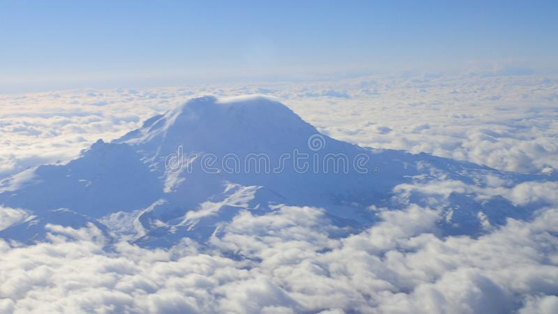 An aerial view of Mt. Rainier. royalty free stock photography