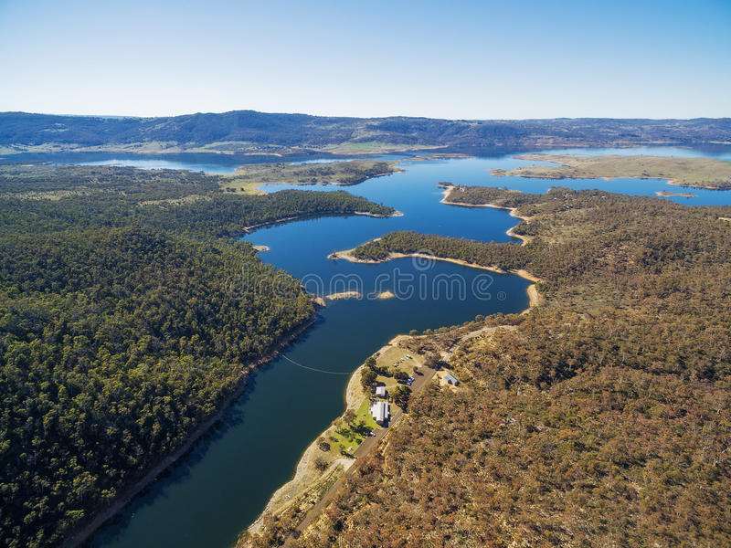 Aerial view of Snowy River flowing into Lake Jindabyne, New South Wales, Australia royalty free stock photos