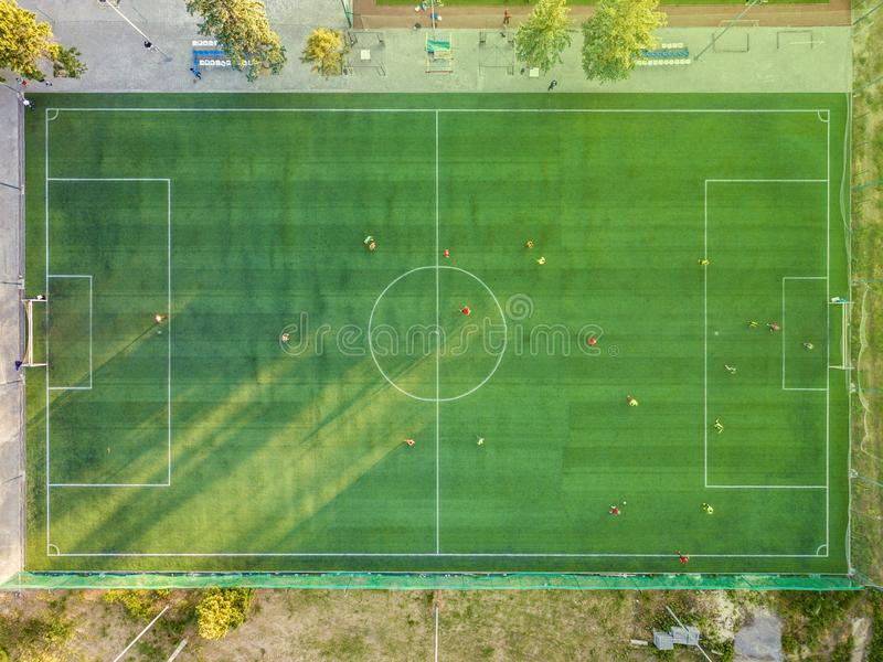 Aerial View of Soccer Field royalty free stock image