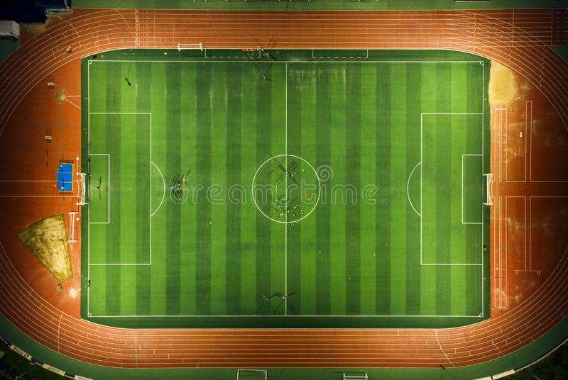 Aerial view of a soccer stock images