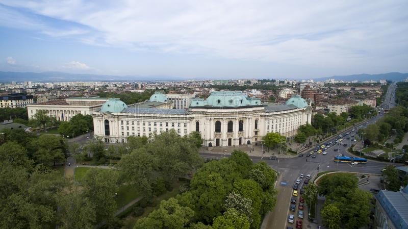Aerial view of the Sofia University, Sofia, Bulgaria. Aerial view of the Sofia University `St. Kliment Ohridski`, Sofia, Bulgaria royalty free stock photo