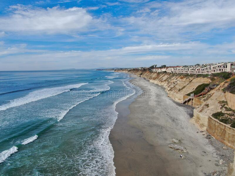 Aerial view of Solana Beach and cliff, California coastal beach with blue Pacific ocean. San Diego County, California, USA stock photo