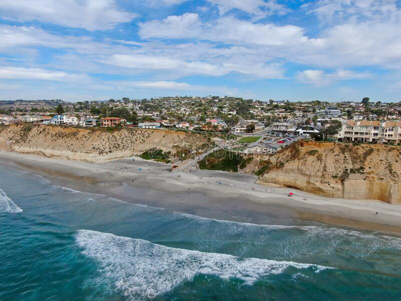 Aerial view of Solana Beach and cliff, California coastal beach with blue Pacific ocean. San Diego County, California, USA royalty free stock images