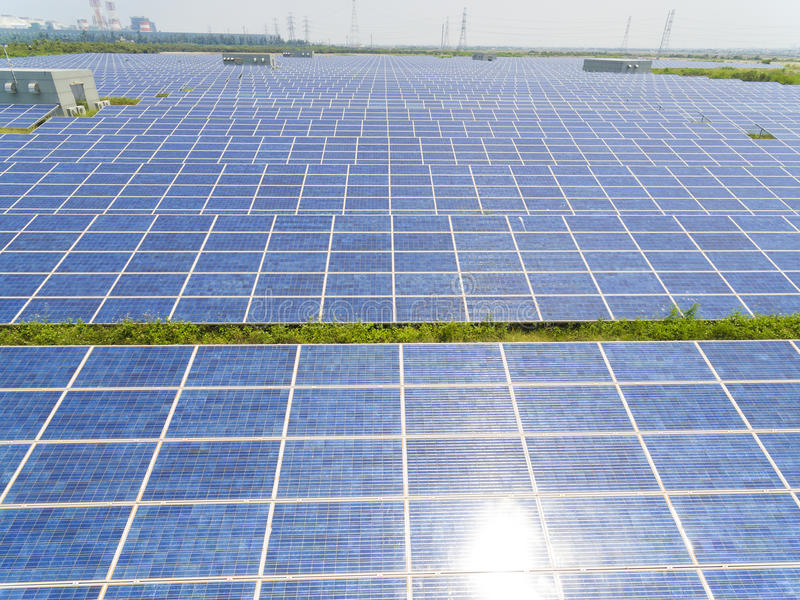 Aerial View of Solar Panel Farm stock photo
