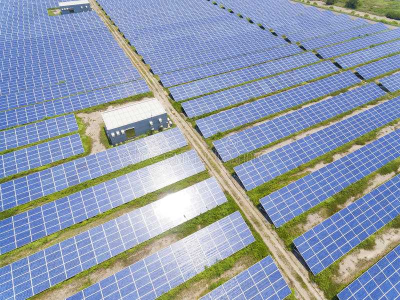 Aerial View of Solar Panel Farm royalty free stock photos