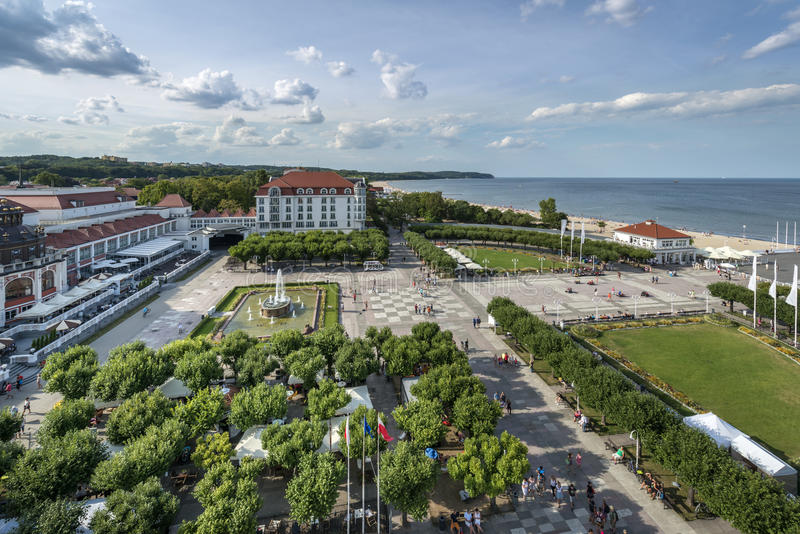 Aerial view of Sopot, tourist resort destination in Poland. Aerial view of Sopot, tourist resort destination at the Baltic seaside in Poland stock photo