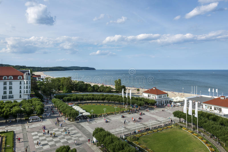 Aerial view of Sopot, tourist resort destination in Poland. Aerial view of Sopot, tourist resort destination at the Baltic seaside in Poland stock photos