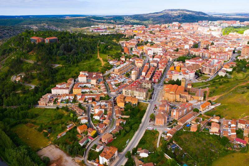 Aerial view of Soria stock photography