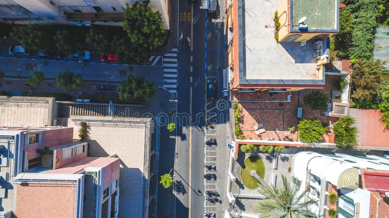 Top down Aerial view of Sorrento city, Meta, Piano coast, Italy, street of mountains old city, tourism concept royalty free stock images