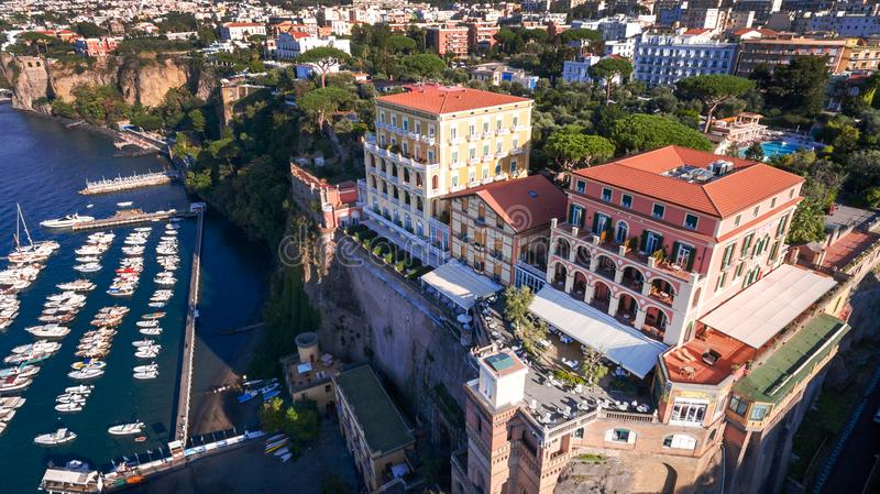 Aerial view of Sorrento city, Italy, street of mountains old city, tourism concept, sea, Napoli, Europe vacation stock images