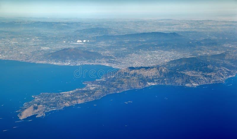 Aerial view of the Sorrento Peninsula stock photos