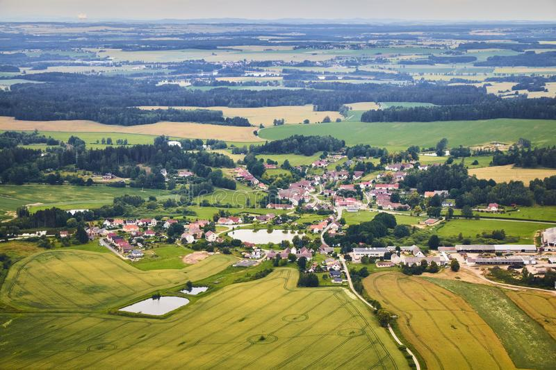 Aerial view of South Bohemian landscape with fields, forests and villages in Czech Republic. stock images
