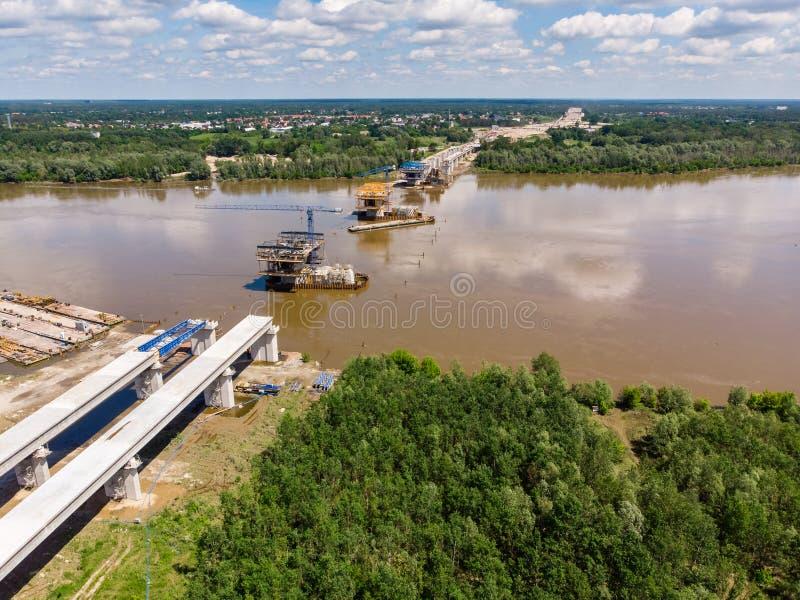 Aerial view of South Bridge construction site. Over Vistula river, Warsaw stock photo