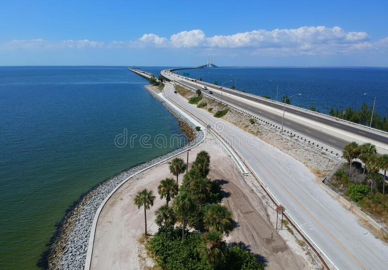 The aerial view of the south entrance to the fishing pier near Bob Graham Sunshine Skyway Bridge, St Petersburg, Florida, U.S.A royalty free stock image