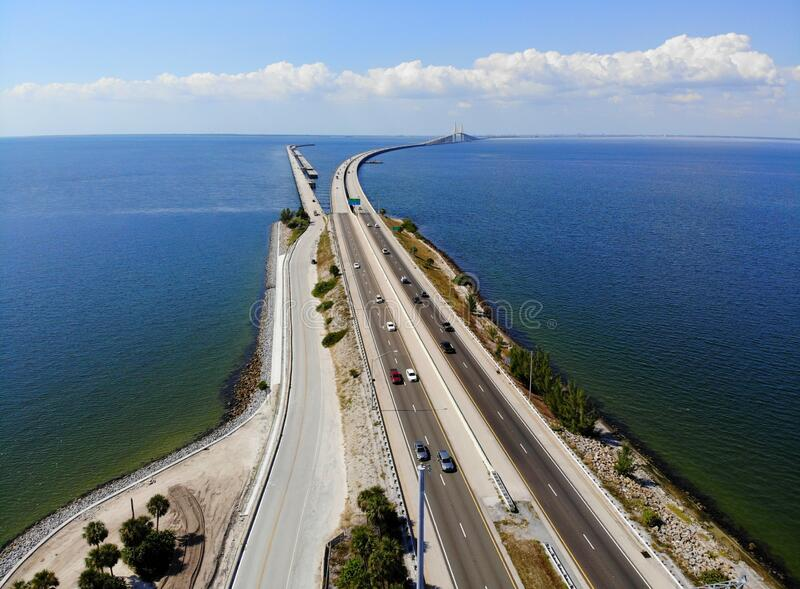 The aerial view of the south entrance to the fishing pier near Bob Graham Sunshine Skyway Bridge at St Petersburg, Florida, U.S.A royalty free stock photography