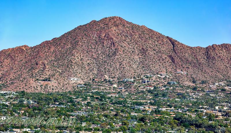 Aerial view of the south face of Camelback Mountain in Phoenix, Arizona stock photo