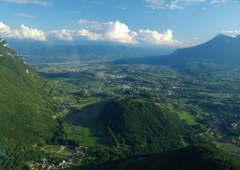 Aerial view of the south valley of Chambery. Near Challes les Eaux, Savoy, France stock photo