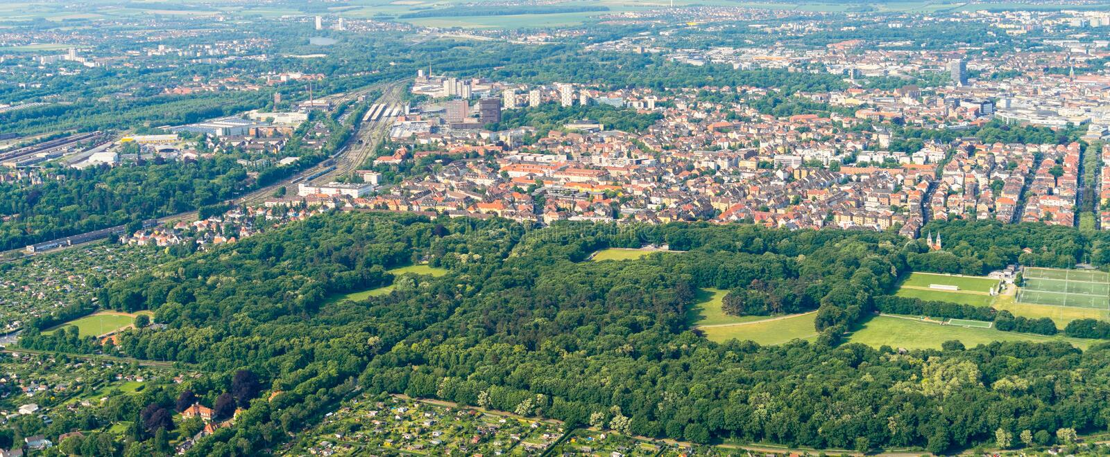 Aerial view of the southern edge of the city of Braunschweig, with parts of the railway station, residential buildings with detach. Ed houses, terraced houses royalty free stock image