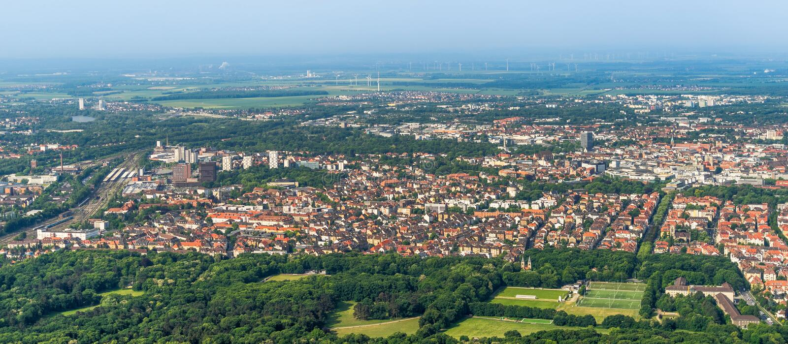 Aerial view of the southern edge of the city of Braunschweig, with parts of the railway station, residential buildings with detach. Ed houses, terraced houses stock photography