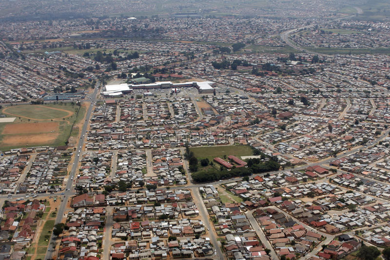 Aerial view of Soweto, Johanneburg. An aerial view of DiepKloof, Soweto, Johannesburg, South Africa royalty free stock photos