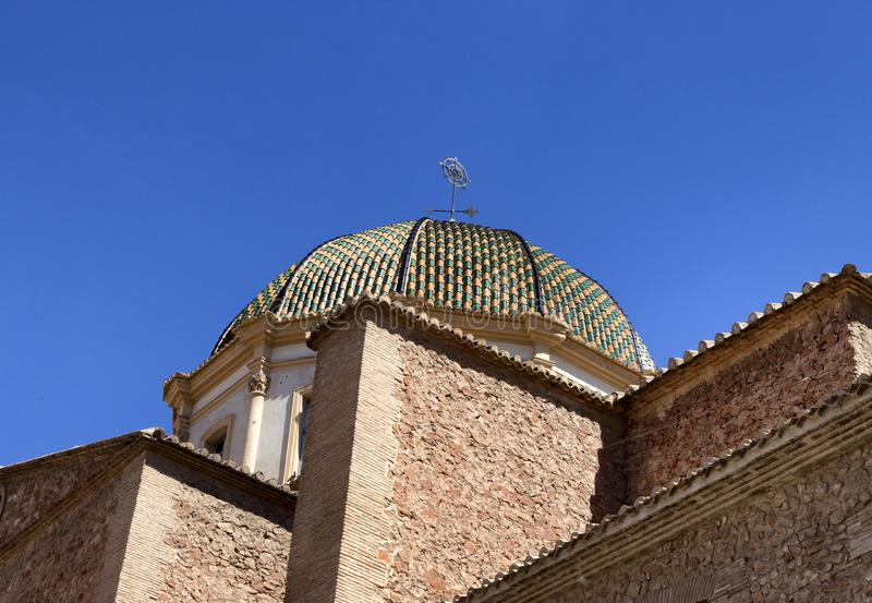 An aerial view of a Spanish church steeple royalty free stock images