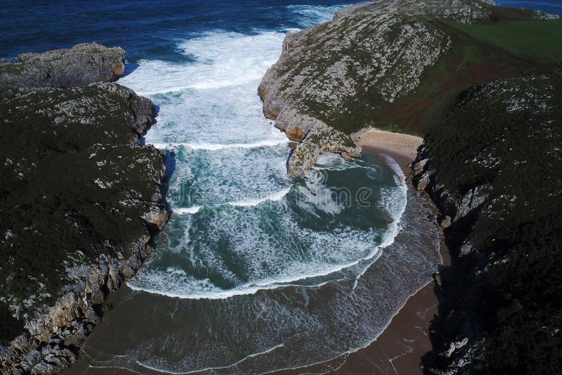 Aerial view of spectacular beaches on spanish northern coast. Cantabria stock photography