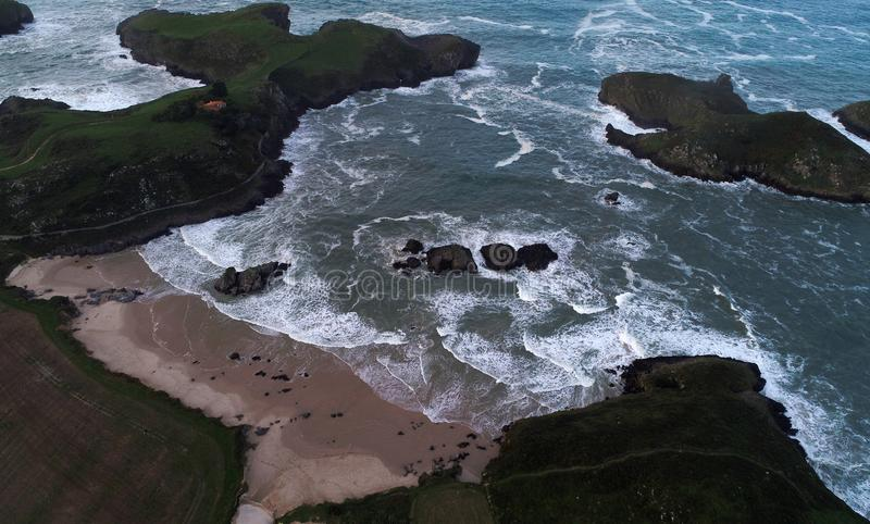 Aerial view of spectacular beaches on spanish northern coast. Cantabria royalty free stock photography