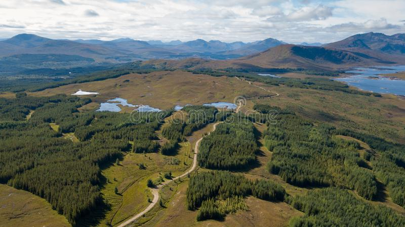 Aerial view of the spectacular highlands in Scotland stock photography