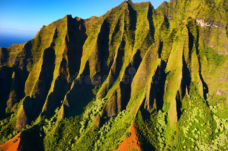 Aerial view of spectacular Na Pali coast, Kauai stock photo