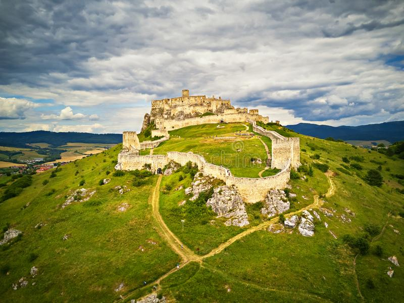 Aerial view of Spis Spiš, Spišský castle in summer. Second biggest castle in Middle Europe, Unesco Wold Heritage, Slovakia royalty free stock images