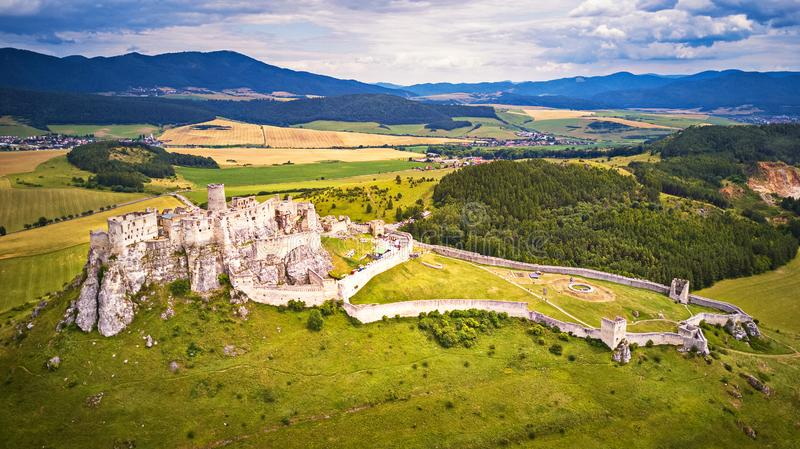 Aerial view of Spis Spiš, Spišský castle in summer. Second biggest castle in Middle Europe, Unesco Wold Heritage, Slovakia stock photography