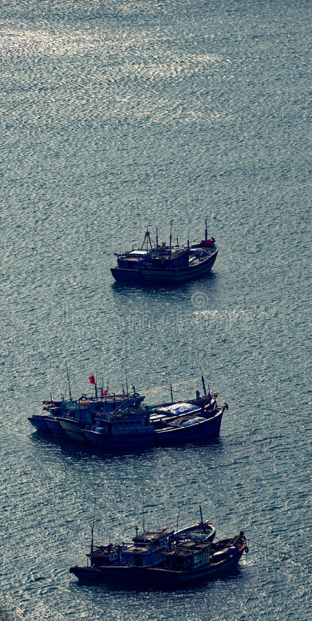 Aerial of squid fishing boats, Da Nang, Vietnam stock photo